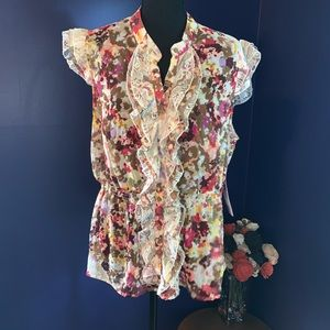 NWT Sunny Leigh floral blouse lace detail XL